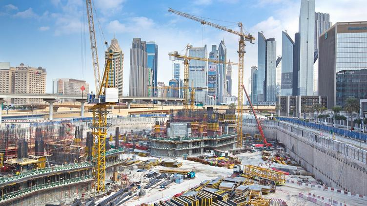 New construction in the financial district of Dubai.